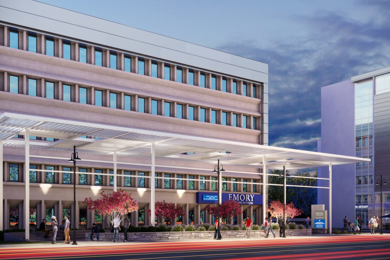 Exterior Rendering of Brookhaven Medical Building at dusk