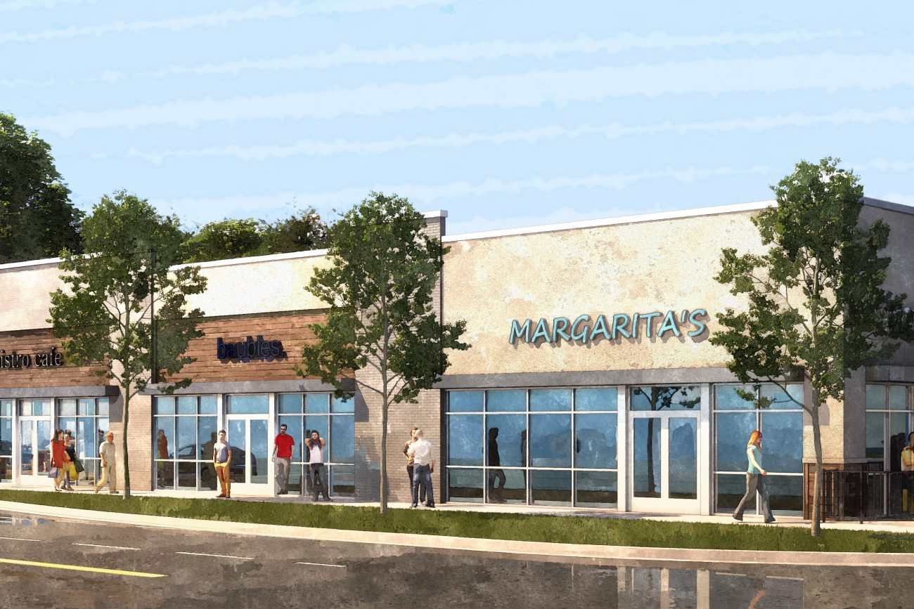 Exterior rendering of Retail Storefronts