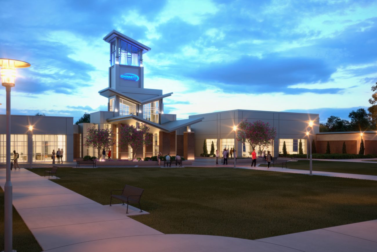 Exterior Rendering of Gwinnett Tech at dusk