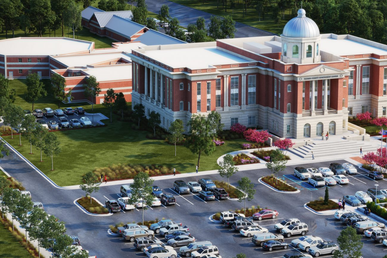 Exterior rendering of the Toombs County Couthouse