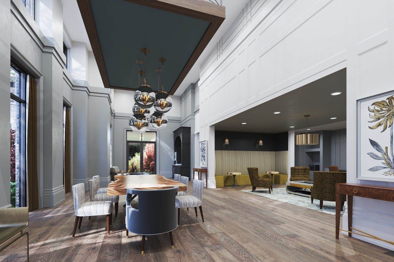 Interior Rendering of clubhouse at Morrison Yards