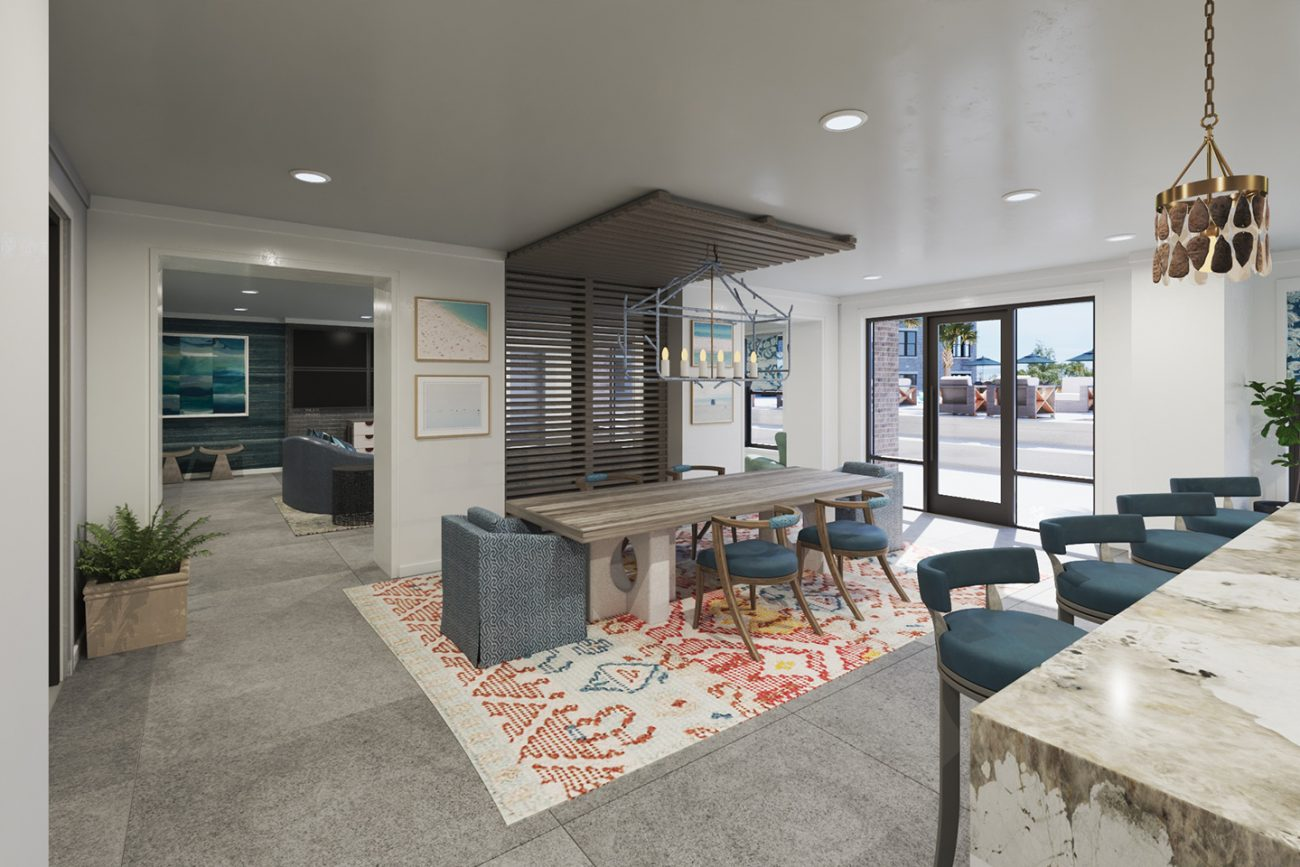 Interior Rendering of pool house at Morrison Yards