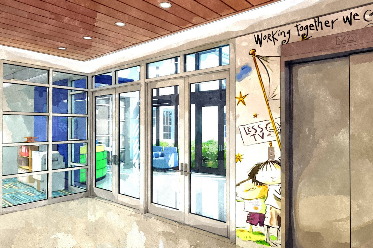 Watercolor Rendering of elevator lobby at Humphries Elementary