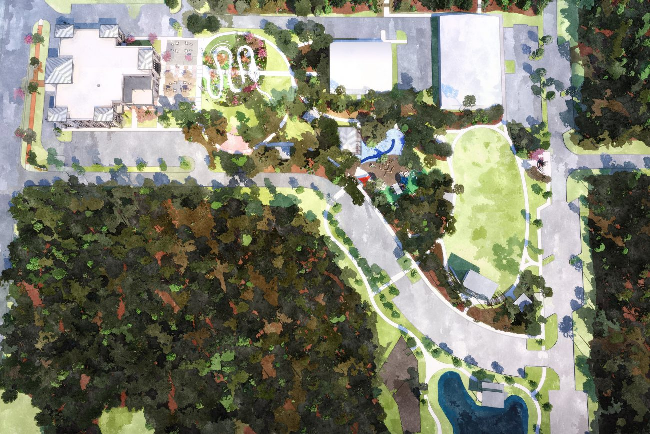 Watercolor Site Plan Rendering of Fayetteville Park